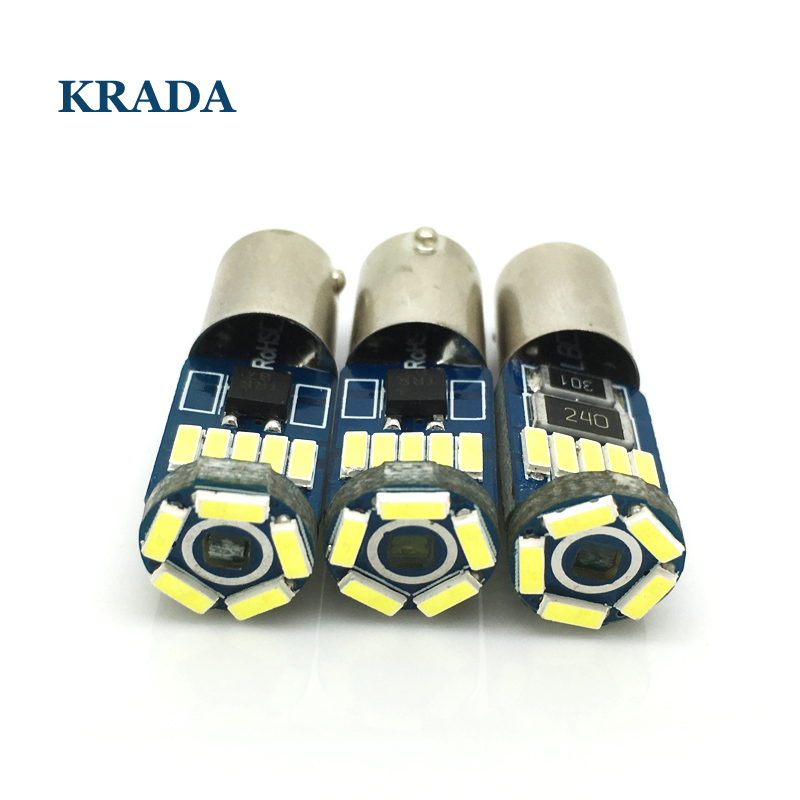 KRADA 2x Car Canbus LED Bulbs BA9S T4W BAX9S H6W BAY9S H21W white Interior Lights Led Auto DRL Clearance Reading Light Lamp 12v 5pcs canbus led 12v for skoda octavia 2015 rear reading lights bulbs trunk interior light lamp kit package