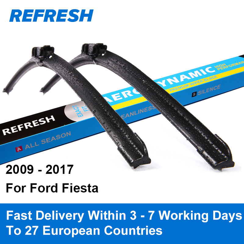 REFRESH Wiper Blades for Ford Fiesta Mk7 26&15 Fit Push Button Arms 2009 2010 2011 2012 2013 2014 2015 2016 2017