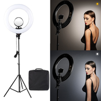 Tolifo 18 R48B AC LED Ring Light with Stand Kit 48W Bi color 3200 5600k included Cosmetic Mirror for Photo Portrait Photography