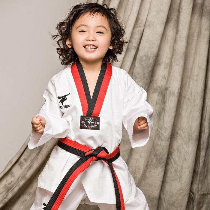 100% хлопковые детские тхэквондо добок с длинными рукавами тхэквондо наряд равномерное белый кикбоксинг спортивный костюм каратэ одежда