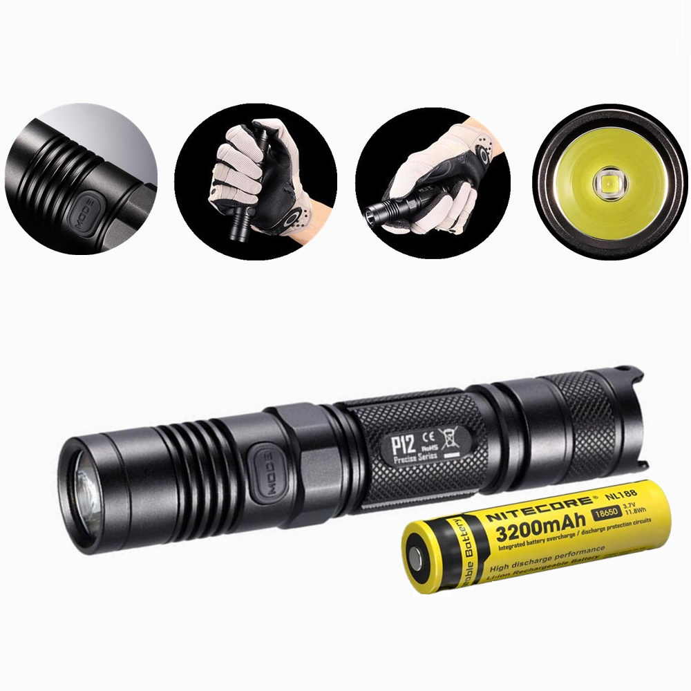Nitecore P12 Tactical Flashlight with Nitecore NL188 18650 3200mah battery XM-L2 U2 Led 1000 Lumens Outdoor Camping Portable nitecore mt10c portable tactical flashlight cree xm l2 u2 led 920 lumens red light illumination waterproof with imr18350 battery