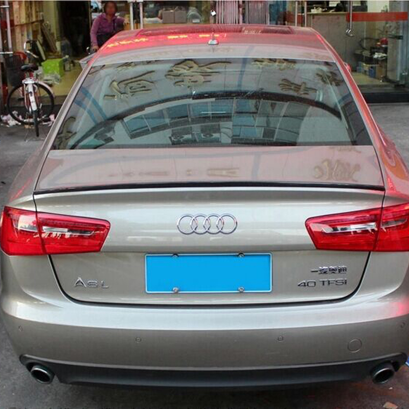 A6 C7 Modified S6 Style Carbon Fiber Rear Trunk Lip Spoiler Car Wing for Audi A6 C7 2012 2013 2014 2015 pu rear wing spoiler for audi 2010 2011 2012 auto car boot lip wing spoiler unpainted grey primer