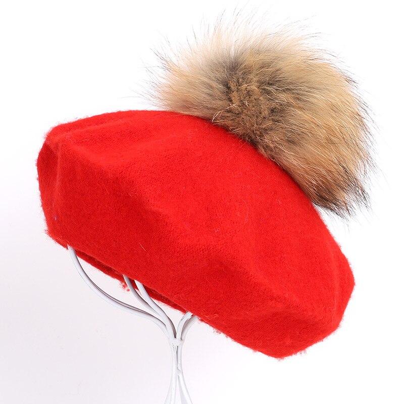 Берет художника, уличные шапки художника, осень и зима, новые теплые вязаные однотонные кепки, модный мех енота, помпон, берет в стиле винтаж - Цвет: Red