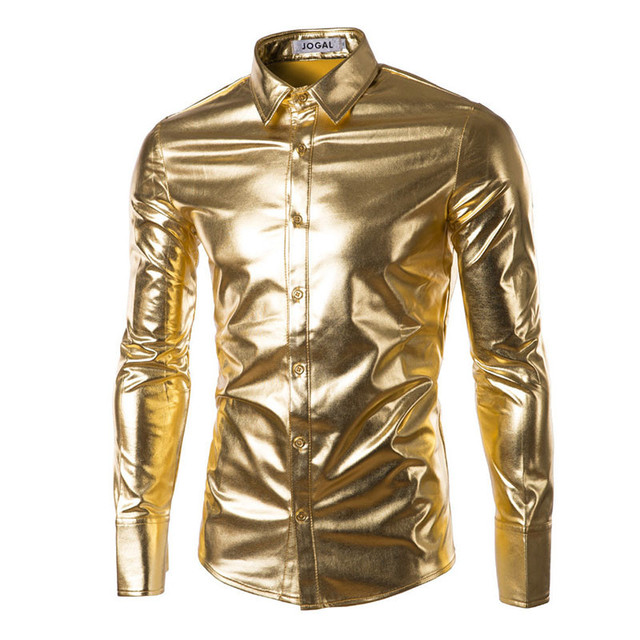 New Mens Trend Night Club Coated Metallic Halloween Gold Silver Button Down Shirts Party Shiny Long Sleeves Dress Shirts