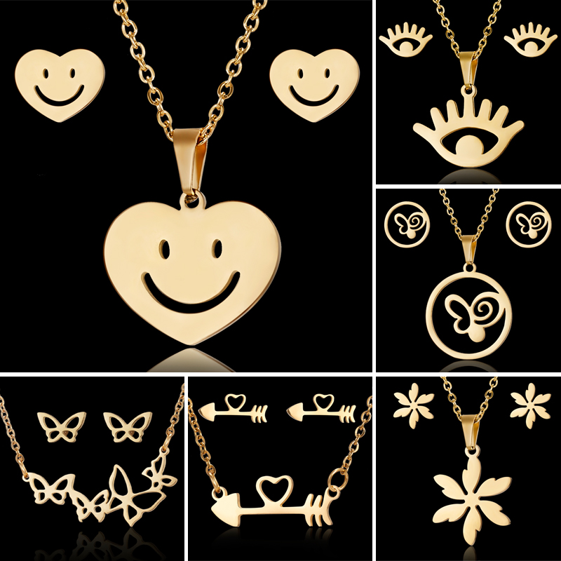 Rinhoo Flower Gold Color Stainless Steel Sets For Women Emoji Butterfly Fish Bone Necklace Earrings Jewelry Set Wedding Jewelry