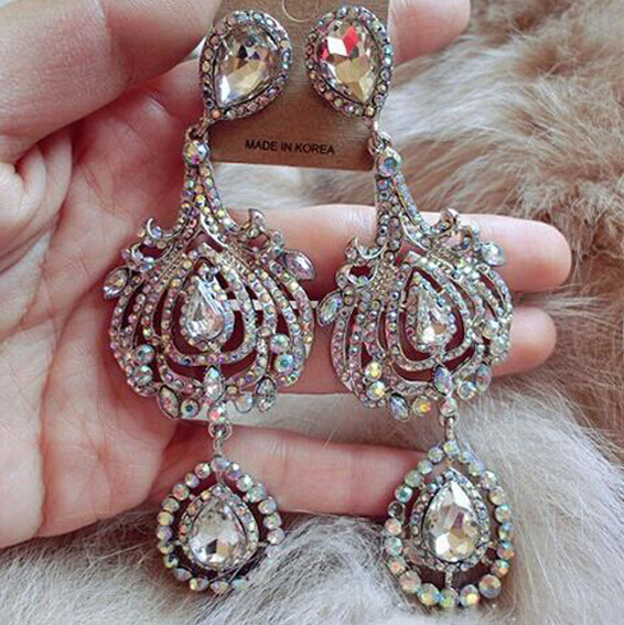 Free Shipping Luxurious Exaggerated Crystal Gem Full Rhinestones Long Dangle Earrings Fashion Jewelry Gifts for Women