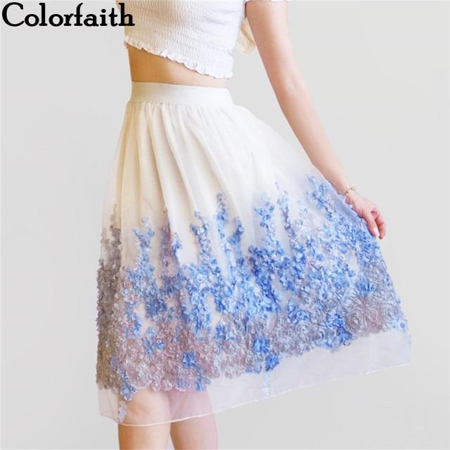 038b18017 2017 New Puff Women Organza Tulle Skirt White faldas High waist Midi  Appliques Floral Sakter Skirt Female Tutu Skirts SP022