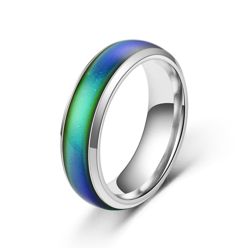 Stainless Ring Temperature Change color Mood Ring 6mm Wide  Smart Jewelry G-096