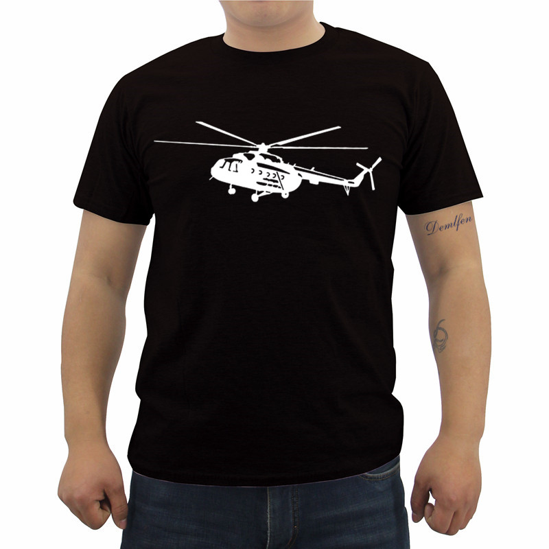 Summer Men's Short Sleeve Cotton T Shirt Mi-8 Helicopter Print T-shirt Casual Male Fitness Shirt Cool Tees Tops Streetwear