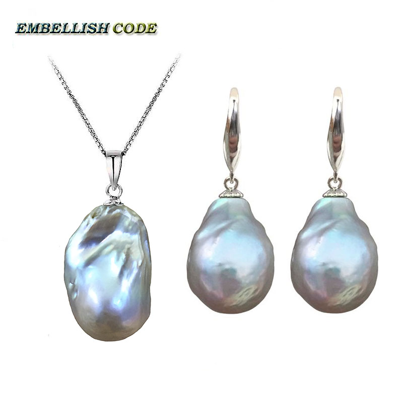 hot Simple baroque pearl pandent necklace hook dangle earrings set nucleated fire ball shape gray grey