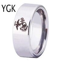 YGK Envío Gratis YGK JOYERÍA de Las Ventas Calientes 8 MM Silver Pipe Tungsteno Comfort Fit Anillo USMC Ejército hombres del Diseño anillo