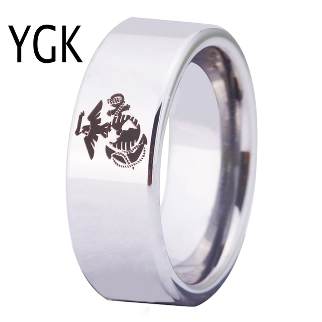 Ygk Free Shipping Jewelry Hot S 8mm Silver Pipe Army Ring Usmc Design Men Tungsten