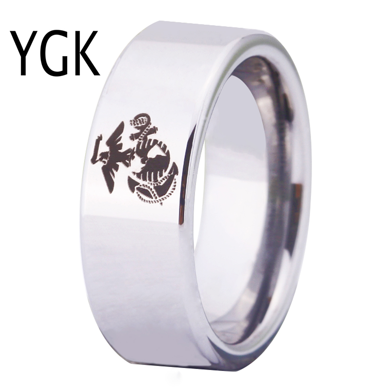 YGK Free Shipping YGK JEWELRY Hot Sales 8MM Silver Pipe Army <font><b>Ring</b></font> <font><b>USMC</b></font> Design Men's Tungsten Comfort Fit <font><b>Ring</b></font> image
