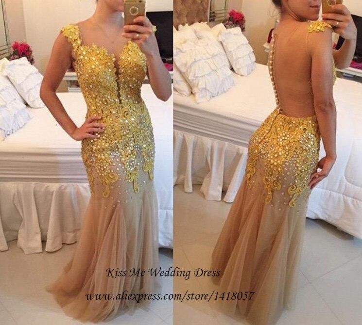 Sexy jaune dentelle sirène robes de bal 2015 perlée dos nu longue robe de soirée formelle robes de soirée Abendkleider Vestidos de Baile