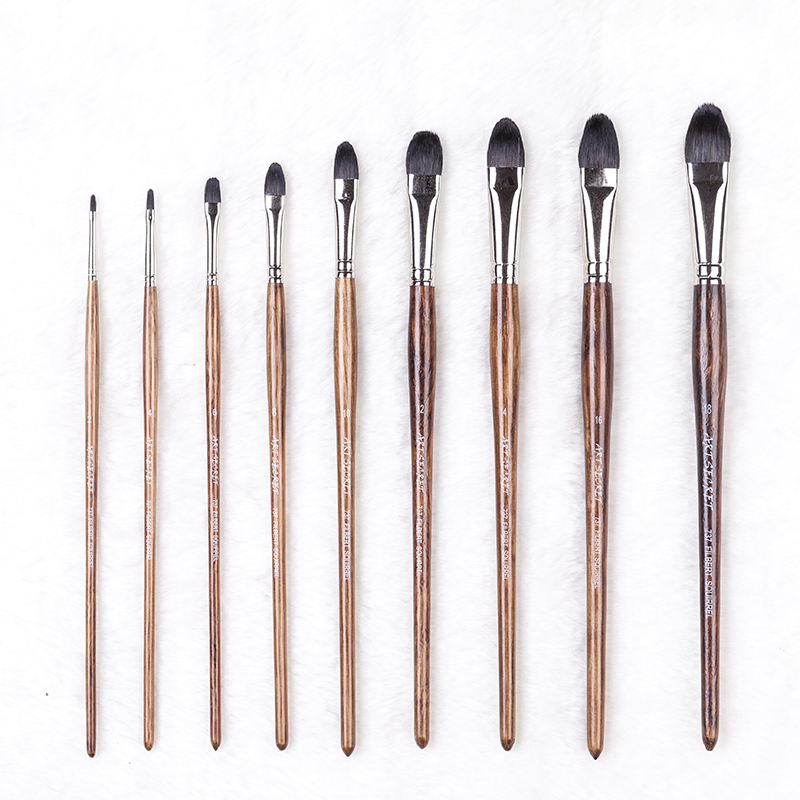 737B High Quality Squirrel Hair Brass Nickel Ferrule Oak Wooden Handle Watercolor Art Supplies Artist Brush