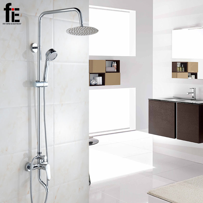 fiE Bathroom Shower Set Wall Mounted Bath Shower Faucet Mixer Head Water Shower Saving Nozzle Aerator High Pressure fie new shower faucet set bathroom faucet chrome finish mixer tap handheld shower basin faucet