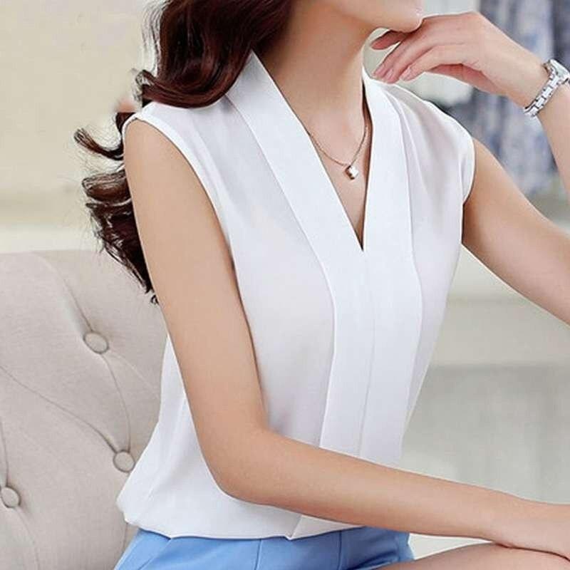 New Fashion Women Chiffon Blouses Ladies V neck Tops Tee Female Sleeveless TShirts Solid Blusas Femininas