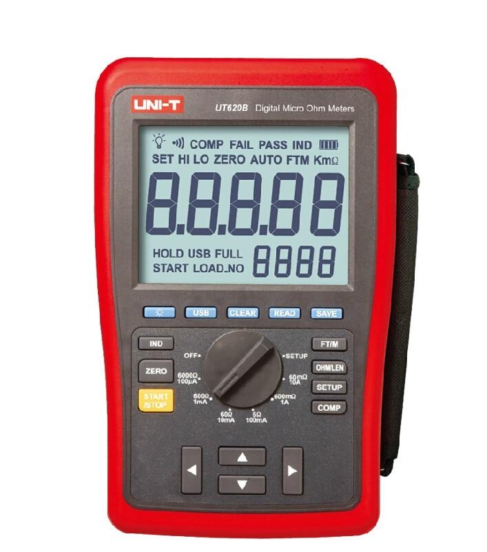 UNI T UT620B Высокая точность 0.25% Кельвин четыре провода DC низкое сопротивление измеритель длины провода микро ом метр мин. Разрешение 1u Ом USB