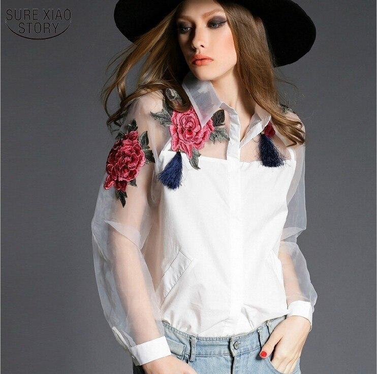 2015 nueva primavera y el verano blusa blusa camisa bordado de flores de organza