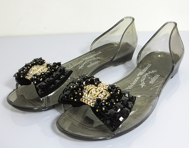 new 2014 women beading bowknot vivi Pearl diamond summer melissa jelly  Sandals for woman flats shoes c47479c44303
