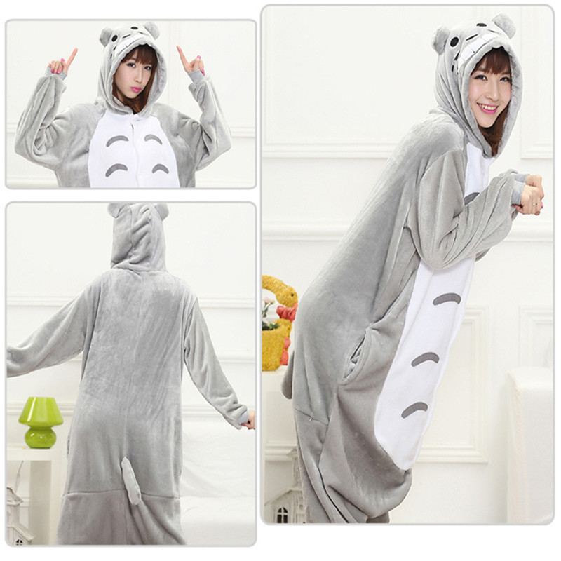 2018 Halloween Adult Anime   Pajama     Sets   Cartoon Sleepwear Women   Pajamas   Flannel Animal Panda Unicorn   Pajama   Winter Warm Hooded