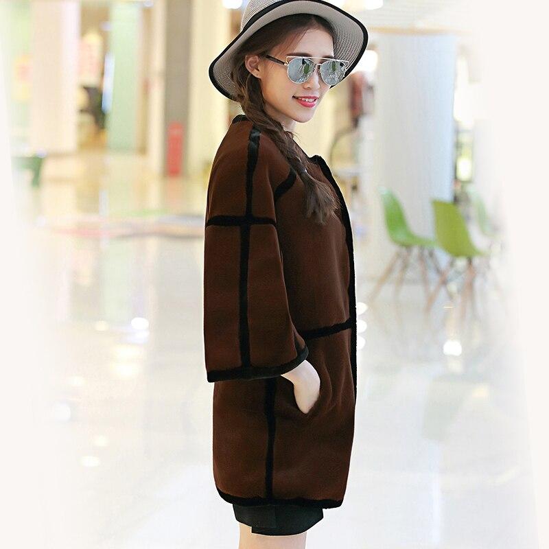 2017 Fourrure Manteau Green Col Faux Veste Mode Rayé coffee Lapin Outwear Hiver Femmes Luxe Nerazzurri Synthétique De n1UwxqRq