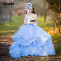 Elegant Ball Gown Flower Girl Dresses Strapless Tulle New Long Pageant Gowns First Communion Dresses For Girls Princess Dress
