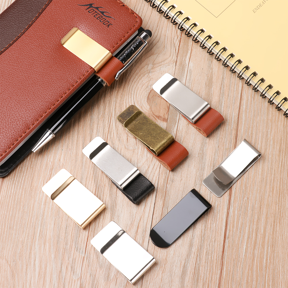 Stainless Steel Leather Brass Clips Stainless Steel Pen Holder Clip Journal Notebook Paper Folder School Office Supplies