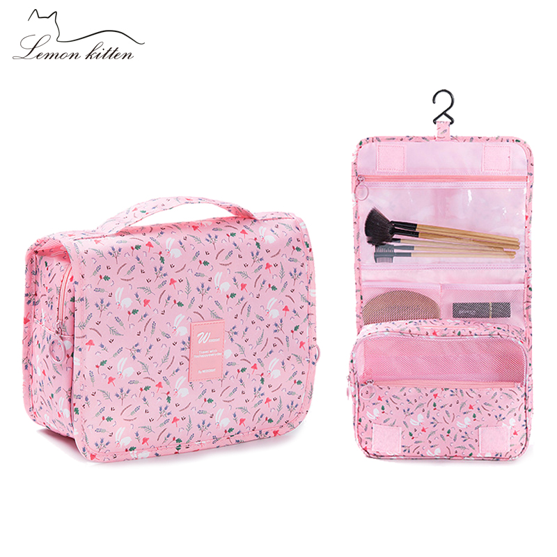 510e96317232 US $7.59 23% OFF|Printed Hanged Cosmetic Bag Flamingo Makeup Beauty Case  Waterproof Packing Cubes Large Capacity duffle travel bags organizer-in ...