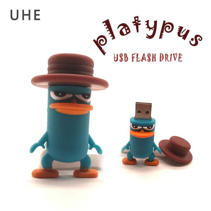 Pendrive usb flash drive 64gb 32gb 16gb 8gb 4gb funny cute perry the platypus shape pen drive memory stick cartoon cle usb2.0 цена и фото