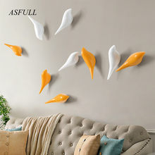 ASFULL Creative wall hooks bird decoration Resin wood grain hooks bedroom door after the animals Hooks 3D coat hook single wall(China)
