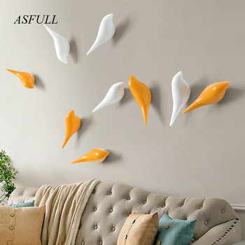 ASFULL  Creative wall hooks bird decoration Resin wood grain hooks bedroom door after the animals Hooks 3D coat hook single wall