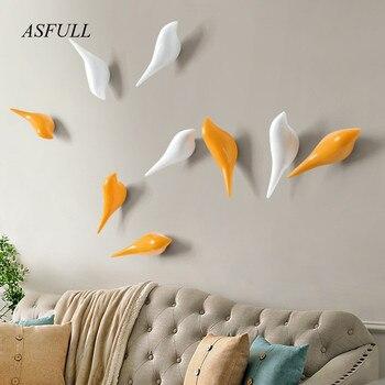ASFULL Yaratıcı duvar kanca kuş dekorasyon Reçine ahşap tahıl kanca yatak odası kapısı sonrası hayvanlar Kanca 3D ceket askısı tek duvar