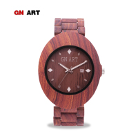 GNART Fashion Nice Sandalwood Watches for Men Chronograph Relogio Masculino Wood Wristband Style Quartz Wristwatch for Gentleman