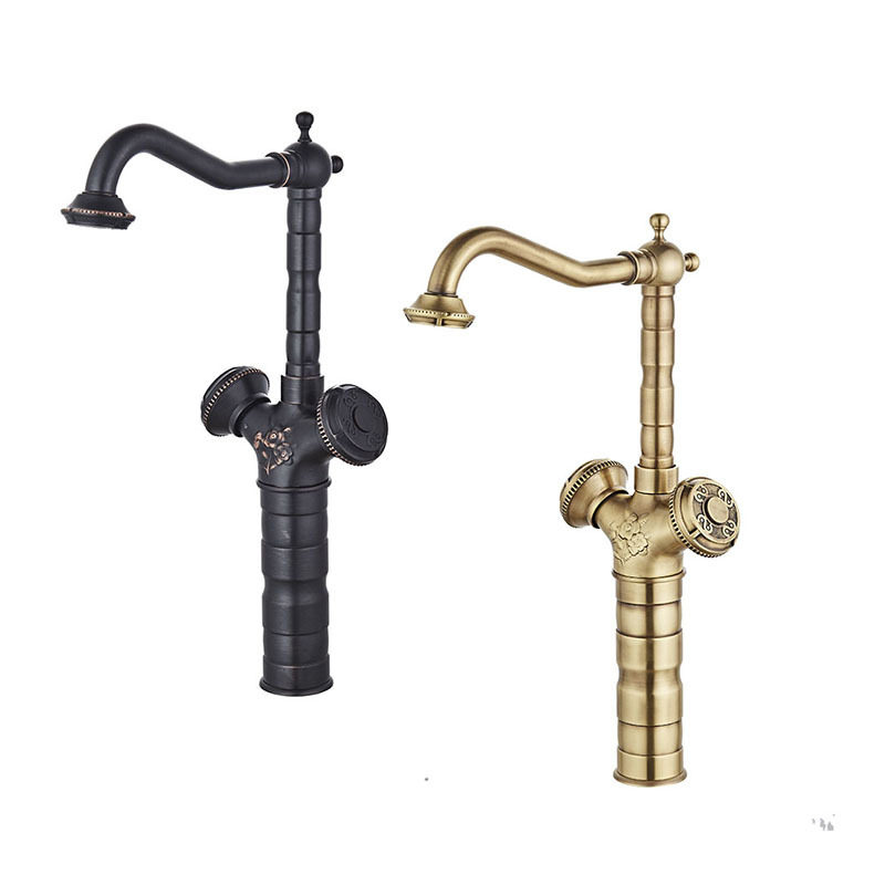 цены Free Shipping Oil Rubber Bronze ORB Bathroom Faucet Sink Basin Mixer Tap Cold And Hot Water taps Antique Brass Wholesale JP119