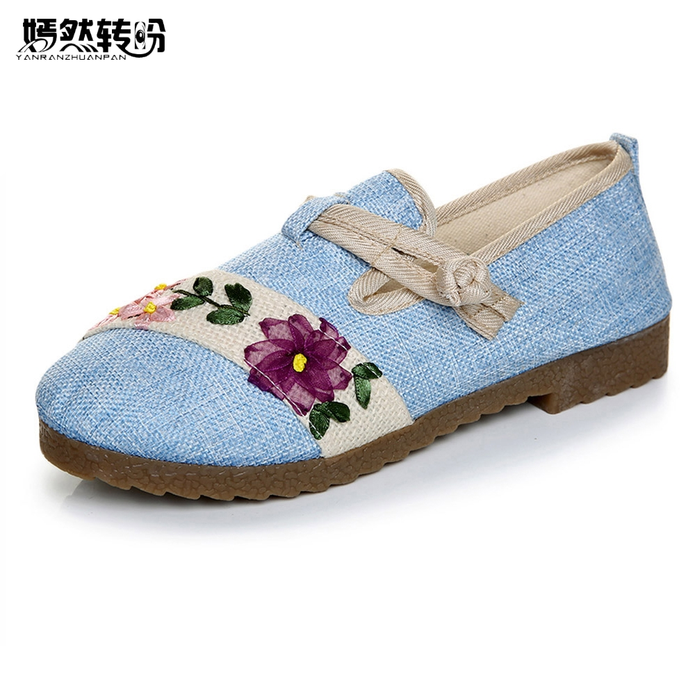 New Women Flats Shoes Ethnic Chinese Old Peking Flower Vintage Embroidery Canvas Ballerina Flat Shoes Woman Sapato Feminino peacock embroidery women shoes old peking mary jane flat heel denim flats soft sole women dance casual shoes height increase