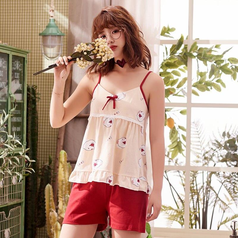 Women Sweet Ruffle Sleepwear Lovely Piglet Printed Ladies Cute   Pajamas     Set   Summer New Sling Top+Shorts Female Cotton Homewear