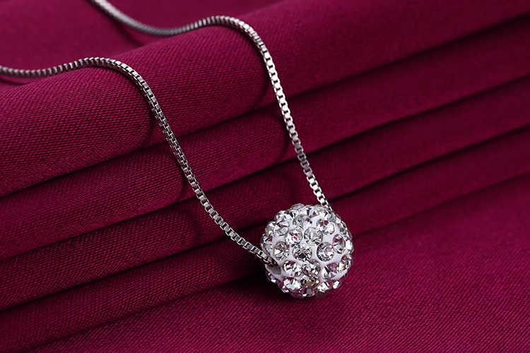 Heißer verkauf einfache design eine Shambhala ball 925 sterling silber damen kurze kette halsketten anti-allergische drop verschiffen frauen