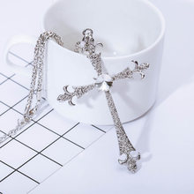 Cross Necklaces Silver Color Pendant Jesus Jewelry Women Men Cubic Zirconia Crystal Rhinestone Accessories Long Sweater Chain(China)