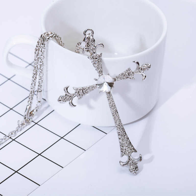 Cross Necklaces Silver Color Pendant Jesus Jewelry Women Men Cubic Zirconia Crystal Rhinestone Accessories Long Sweater Chain