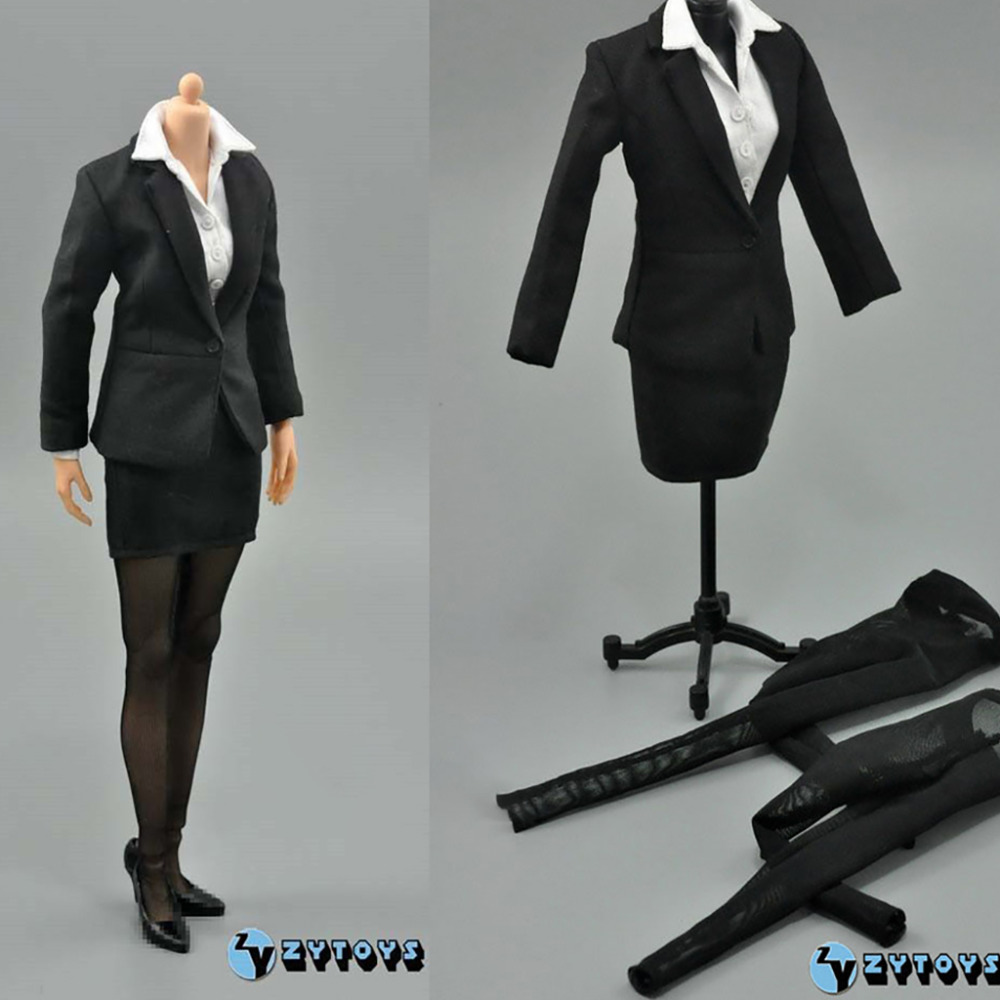 "1//6 Standard BLACK Business Suit for 12/"" NARROW SHOULDER MALE body WORLDBOX COO"