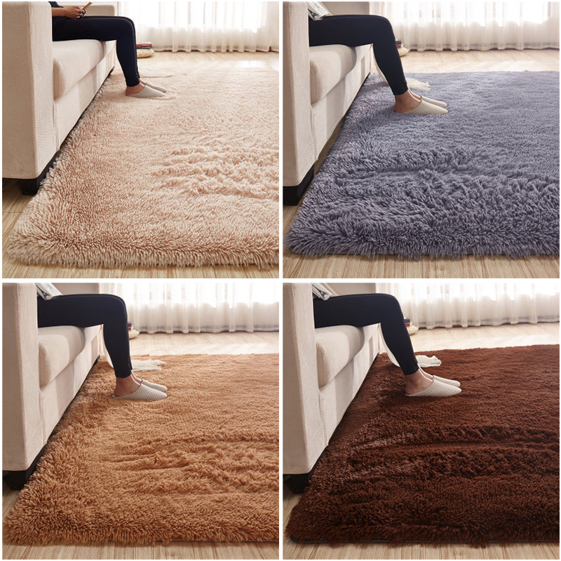 Bedroom Soft Plush Rug Thicken Solid Color Living Room Comfortable Carpet Non-slip Floor Mats Keep Warm Noise-reduction Pad