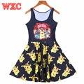 Покемон Пикачу Женщины Dress Аниме Линия Платья Harajuku Рукавов Повседневная Лето Skater Dress Vestido WXC