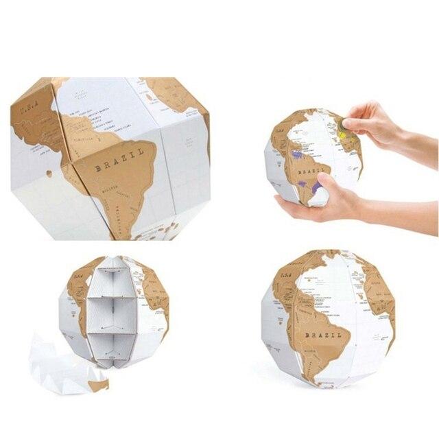 Globe 3D carte du monde à gratter 3