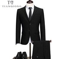 Тянь QIONG брендовые Нарядные Костюмы для свадьбы для Для мужчин жениха мужской Для мужчин s черный костюм Slim Fit Формальные Бизнес смокинг инди