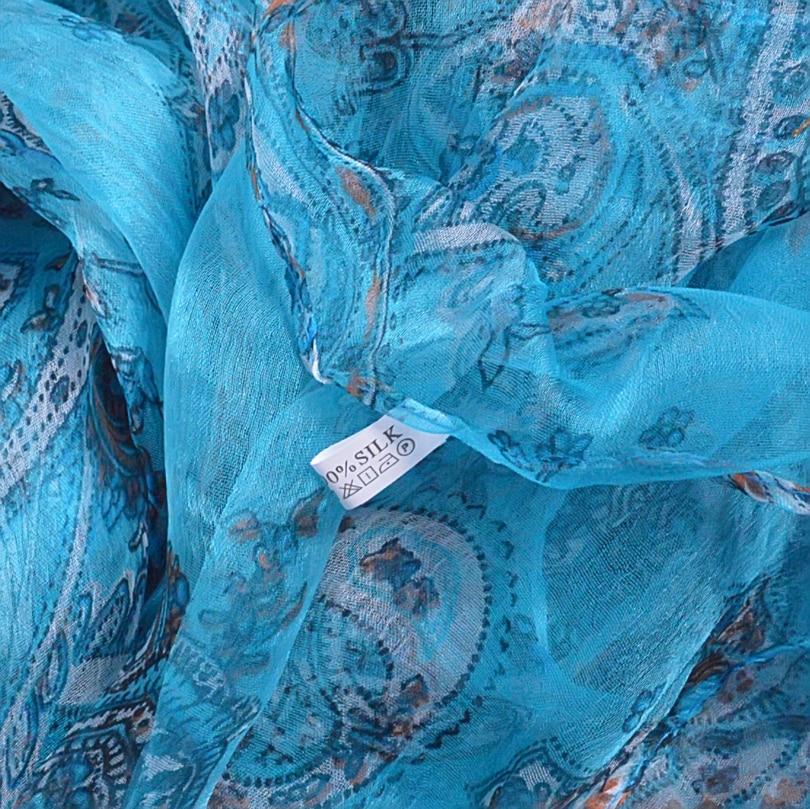 Light Blue 100% Pure Silk Scarves Women's Scarf