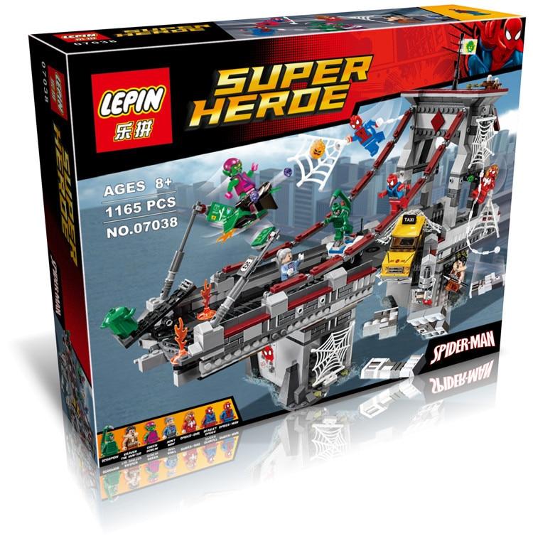 07038 Super Heroes Spider Man Web Warriors Ultimate Bridge Battle Building Blocks Kids Toys Minifigs Marvel Compatible Legoe