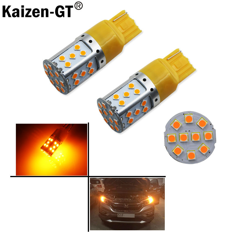 Error Free  Amber Yellow 7440 T20 21W LED Bulbs For Car Front or Rear Turn Signal Lights (No Hyper Flash and No Modification) 2pcs amber yellow error free led 1156 p21w led bulbs for car front or rear turn signal lights daytime running lights
