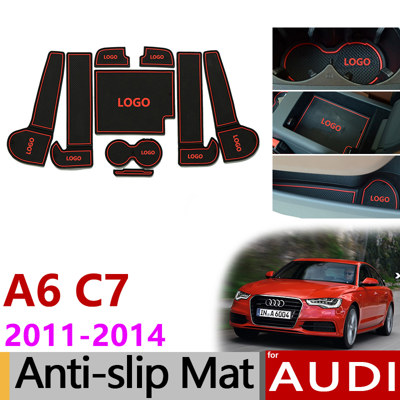 Anti-Slip Gate Slot Mats Rubber Cup Mat for Audi A6 C7 2011 2012 2013 2014 A6 4G RS6 S6 S line RS 6 Accessories Car Stickers все цены
