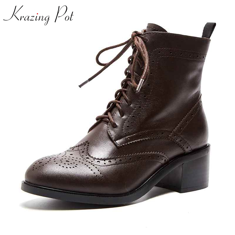 Krazing pot 2019 genuine leather women brand ankle boots block shoes round toe vintage design carved